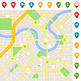 Imaginary city MAP with important places icons Royalty Free Stock Photos
