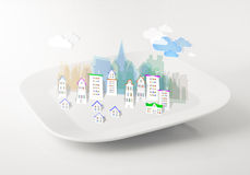 Imaginary city on a plate royalty free stock photos