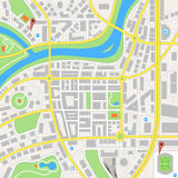 Imaginary City Vector Map. A generic city map of an imaginary city Royalty Free Stock Photos