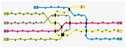 Imaginary colored subway map with stations Royalty Free Stock Image