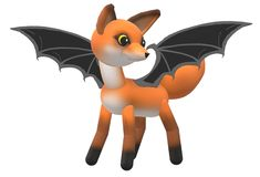 An imaginary creature - a young brown fox with black bat wings stock illustration