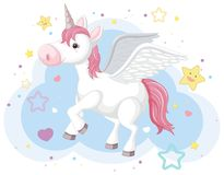 Imaginary horse with horn and wings. Illustration Royalty Free Stock Photo