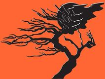 Hand drawn illustration of a tree silhouette. The imaginary illustration of a scene with tree and moon with cloud on an orange background stock illustration