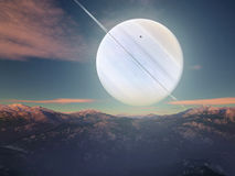 Imaginary Landscape. Vision of an imaginary landscape, a giant planet with rings rise vector illustration