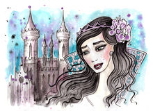 Imaginary princess with dark hair and her castle behind Stock Image