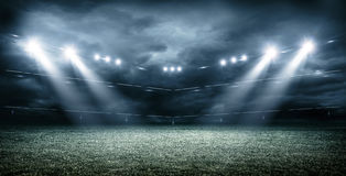 The Imaginary Soccer Stadium with dark clouds , 3d rendering vector illustration