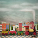 Imaginary toy  train  and the city. Imaginary toy  town  and  train.  A small town and the railway with   locomotives. Computer graphics Stock Photos