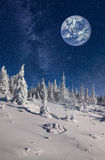 Imaginary view of big blue planet in the sky Royalty Free Stock Images