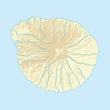 Imaginary volcanic island map with coast and rivers. Imaginary volcanic island vector map with coast and rivers Stock Photo