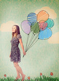 Imagination. Young woman is standing with drawn balloons Stock Photography