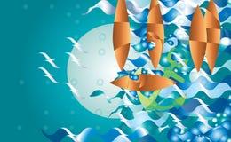 Imagination abstraite de bateau, à l'illustration d'imagination de nuit, fond Mouettes d'ancre de vagues Image libre de droits