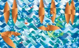 Imagination abstraite de bateau, à l'illustration d'imagination de nuit, fond Mouettes d'ancre de vagues Image stock