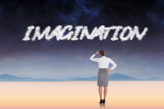 Imagination against serene landscape Royalty Free Stock Photo