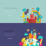 Imagination Banners. Collection of two banners with tropical island and fairycastle. Imagination and creative process concept. Flat vector illustration Stock Photos