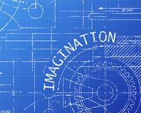 Imagination Blueprint Machine. Imagination text with gear wheels hand drawn on blueprint technical drawing background Stock Photo