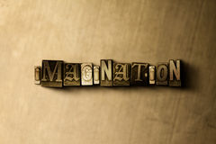 IMAGINATION - close-up of grungy vintage typeset word on metal backdrop Royalty Free Stock Photo