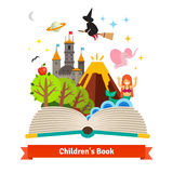 Imagination coming to life in children fairy tail stock illustration