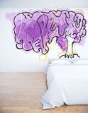 Imagination concept. Bedroom interior with creative human brain tree on wall. Imagination concept. 3D Rendering Stock Images