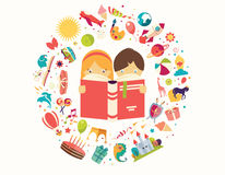 Imagination concept, boy and girl reading a book objects flying Stock Photo