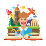Imagination concept. Child with open book. Vector flat illustration Stock Image