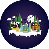 Sleepy, snowy town at christmas night. stock illustration
