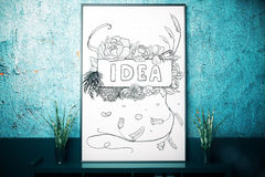 Imagination concept. Close up of picture frame with abstract sketch placed on dark surface with decorative plants. Imagination concept. 3D Rendering Stock Photography