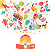 Imagination concept - girl reading a book with air balloon, rock Royalty Free Stock Images