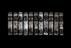 Imagination. Concept in metal word stock photo