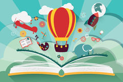 Imagination concept - open book with air balloon stock illustration