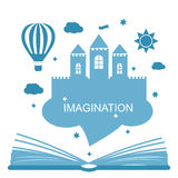 Imagination concept - open book royalty free illustration
