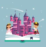 Imagination concept with opened book pink castle. Fairy, magical adventure boo Royalty Free Stock Images