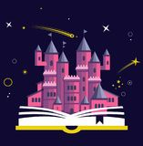 Imagination concept with opened book pink castle. Fairy, magical adventure boo. K for kids Stock Images