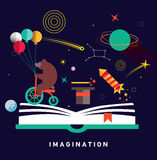 Imagination concept with opened book. And planets, stars, space, magic hat, slapstick, bear on bike with balloons. Fairy, magical adventure book for kids Royalty Free Stock Image