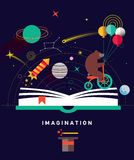 Imagination concept with opened book. And planets, stars, space, magic hat, slapstick, bear on bike with balloons. Fairy, magical adventure book for kids Royalty Free Stock Photo