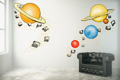 Imagination concept, planets sketch Stock Photo