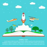 Imagination concept, reading, open book with rocket - spaceship, plane, helicopter, paper airplane drone, clouds, stars and trees. vector illustration