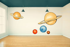 Imagination concept. Room interior with abstract planets drawing on concrete wall, wooden floor and window with daylight. Imagination concept. 3D Rendering Royalty Free Stock Photos