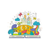Imagination. Creative illustration of learning process and cuiriosity concept. Open book with fairytale island elements - waves, rainbow, butterflies, whale, sun vector illustration