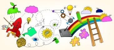 Imagination. Creative vector color dezign doodle collection Royalty Free Stock Photos