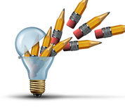 Imagination and creativity Concept. As an open light bulb or lightbulb symbol for out of the box thinking with a group of pencils being released from within as Stock Image