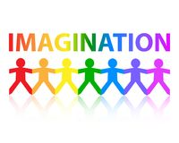 Imagination Paper People Rainbow. Imagination cut out paper people chain in rainbow colors Royalty Free Stock Images