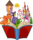 Imagination dans un livre féerique d'imagination de queue d'enfants illustration de vecteur