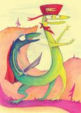 Imagination dragon with two heads. In nature Royalty Free Stock Photos
