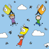 Imagination and education. Letters and books with wings carry children. illustration imagination and education Royalty Free Stock Photography