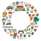 imagination exploration étude Jouer apprenez kindergarten Enfants Dessin de gosses Icône de griffonnage Illustration Lune illustration de vecteur