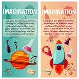 Vector banners. Imagination and exploration. Science and research. Rocket launch. Discovery new world, start new. Imagination and exploration. Science and Royalty Free Stock Photos