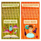 Vector banners. Imagination and exploration. Science and research. Rocket launch. Discovery new world, start new. Imagination and exploration. Science and Royalty Free Stock Image