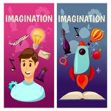 Vector banners. Imagination and exploration. Science and research. Rocket launch. Discovery new world, start new. Imagination and exploration. Science and Royalty Free Stock Photo