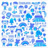 Imagination. Exploration. Study. Play. Learn. Kindergarten. Children. Kids drawing. Doodle icon. Illustration. Moon Stock Images