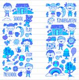 Imagination. Exploration. Study. Play. Learn. Kindergarten. Children. Kids drawing. Doodle icon. Illustration. Moon Royalty Free Stock Image